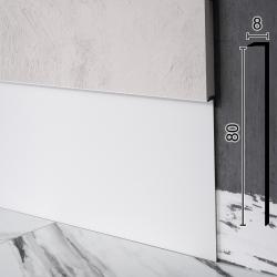 Алюминиевый плинтус скрытого монтажа Sintezal Р-118W, 80х8х2500мм. Белый