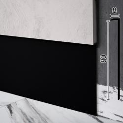 Алюминиевый плинтус скрытого монтажа Sintezal Р-118B, 80х8х2500мм. Чёрный