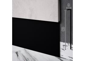 Г-подібний алюмінієвий плінтус прихованого монтажу Sintezal Р-118B, 80х8х2500мм. Чорний