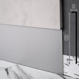 Скрытый плинтус алюминиевый под МДФ-вставку Sintezal P-118, 80х8х2500мм. Без покрытия