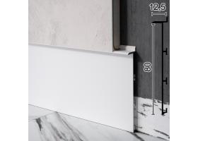 Алюмінієвий плінтус прихованого монтажу під гіпсокартон Sintezal Р-125W, 80х12,5х2500мм. Білий