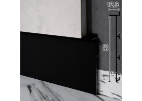 Скритий плінтус алюмінієвий під гипсокартон Sintezal Р-125B, 80х12,5х2500мм. Чорний