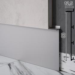 Скрытый плинтус алюминиевый под гипсокартон Sintezal Р-125, 80х12,5х2500мм.