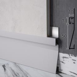 Скрытый плинтус алюминиевый с LED-подсветкой Profilpas Metal Line XL Design SKL/2, 63х10х2800 мм. Италия