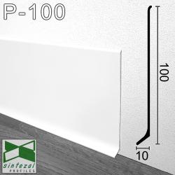 P-100W. Білий високий алюмінієвий плінтус для підлоги Sintezal, 100х10х2500мм.