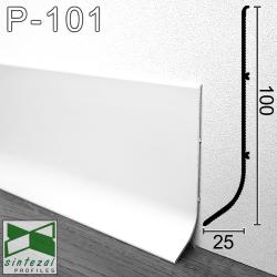 P-101W. Белый алюминиевый плинтус для пола Sintezal, 100х25х3000мм.