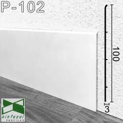 Белый алюминиевый плинтус напольный Sintezal P-102W, 100x3x2500mm.
