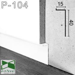 "Р-104W. Скрытый алюминиевый плинтус ""парящие стены"" Sintezal, 40х15х2500мм. Белый"