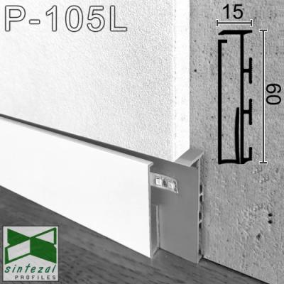 Белый алюминиевый плинтус с LED-подсветкой P-105LW, приямок 60х15х2500мм.