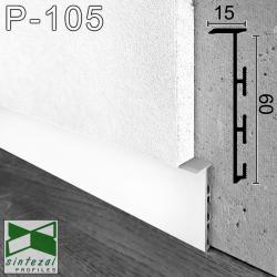 Р-105W. Білий алюмінієвий плінтус прихованого монтажу Sintezal, 60х15х2500мм.
