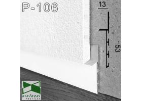 P-106W. Белый Алюминиевый плинтус скрытого монтажа Sintezal, 53х13х3000мм.