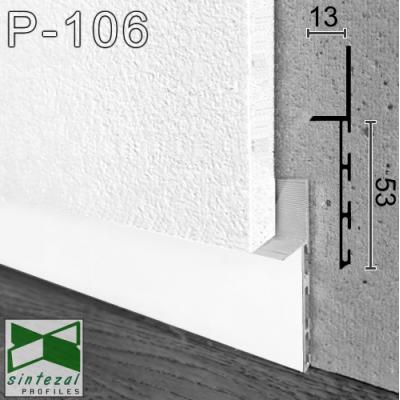 Белый алюминиевый плинтус скрытого монтажа P-106W, приямок 53х11х3000мм.