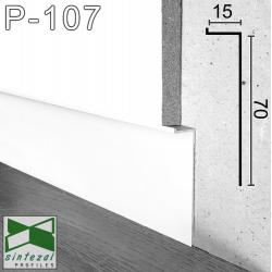 """Р-107W. Прихований алюмінієвий плінтус """"ширяють стіни"""" Sintezal, 70х15х2500мм. білий"""