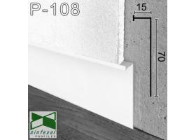 Р-108W. Белый алюминиевый плинтус скрытого монтажа под LED-подсветку Sintezal, 70х15х3000мм.