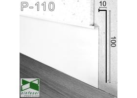 P-110W. Белый алюминиевый плинтус скрытого монтажа Sintezal, 100х10х3000мм.