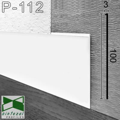 Белый алюминиевый плинтус скрытого монтажа Р-112W, 100х2х2500мм.