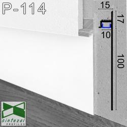 P-114W. Білий LED-плінтус прихованого монтажу Sintezal, 100х13,5х2500мм.