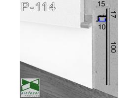 P-114W. Белый LED-плинтус скрытого монтажа Sintezal, 100х13,5х2500мм.