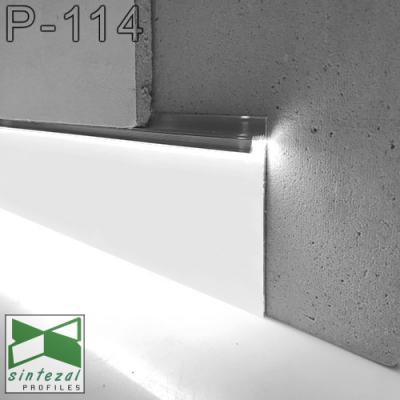 Белый алюминиевый плинтус со скрытой LED-подсветкой P-114W, 100х13,5х2500мм.