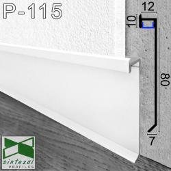 P-115W. Білий алюмінієвий плінтус з прихованою LED-підсвіткою Sintezal, 80х12х2500мм.