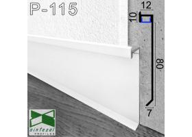 P-115W. Белый алюминиевый плинтус со скрытой LED-подсветкой Sintezal, 80х12х2500мм.
