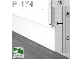 P-174W. Универсальный алюминиевый плинтус скрытого монтажа Sintezal, 112х10х2700мм. Белый