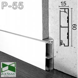 P-55W. Білий алюмінієвий плінтус для прихованих дверей Sintezal, 60х15х2500мм.