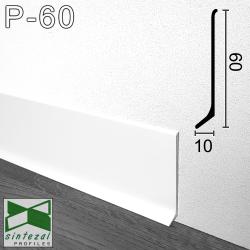 P-60W. Білий алюмінієвий плінтус для підлоги Sintezal, 60х10х2500 мм.