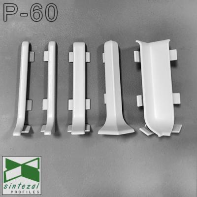 Накладной плинтус алюминиевый Sintezal P-60W, H=60mm. Белый