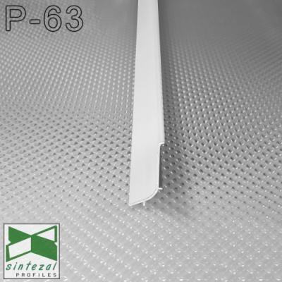 Накладной алюминиевый плинтус для пола Sintezal P-63W, H=40mm. Белый