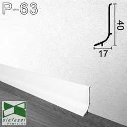 P-63W. Белый алюминиевый плинтус для пола Sintezal, 40х17х2500 мм.