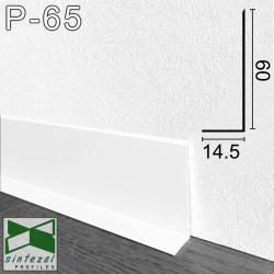 P-65W. Білий алюмінієвий плінтус Г-подібний Sintezal, 60х14,5х2500мм.