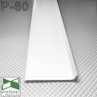 Белый алюминиевый плинтус SINTEZAL® P-80W, 80х10х2500мм.