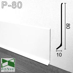 P-80W. Білий алюмінієвий плінтус для підлоги Sintezal, 80х10х2500мм.