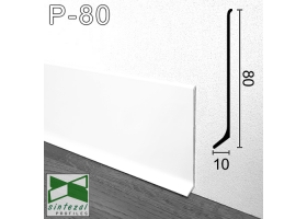 P-80W. Белый алюминиевый плинтус для пола Sintezal, 80х10х2500мм.