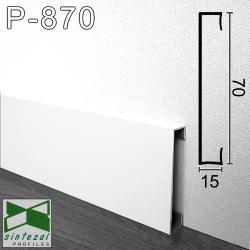 P-870W. Прямоугольный алюминиевый плинтус для пола Sintezal, 70х15х2500мм. Белый