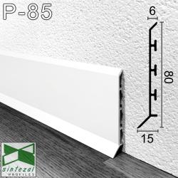 P-85W. Білий алюмінієвий плінтус для підлоги Sintezal, 80х15х2500мм.