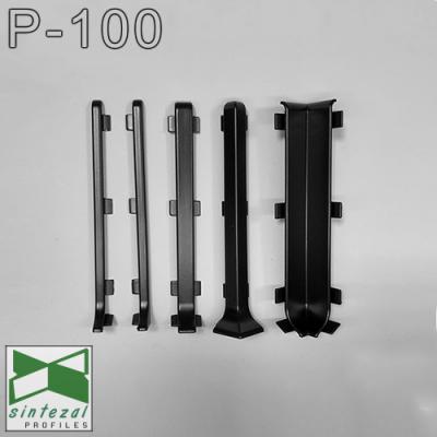 Плоский дизайнерский плинтус алюминиевый Sintezal P-100B, H=100mm. Чёрный