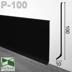 P-100B. Черный алюминиевый плинтус для пола Sintezal, 100х10х2500мм.