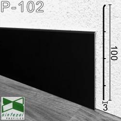 Черный алюминиевый плинтус напольный Sintezal P-102B, 100x3x2500mm.