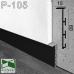 Черный алюминиевый плинтус скрытого монтажа P-105B, 60х15х2500мм.