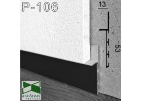 P-106B. Черный алюминиевый плинтус скрытого монтажа Sintezal, 53х13х3000мм.