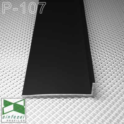 Черный алюминиевый плинтус скрытого монтажа P-107B, 70х15х2500мм.