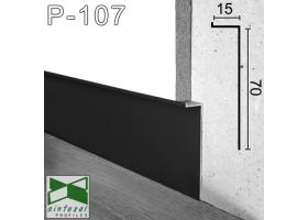 "Р-107B. Чёрный алюминиевый плинтус ""парящие стены"" Sintezal, 70х15х2500мм."