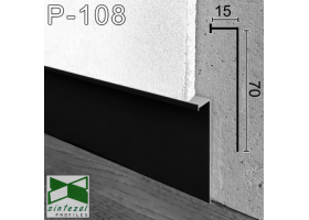 Р-108B. Чёрный алюминиевый плинтус скрытого монтажа под LED-подсветку Sintezal, 70х15х3000мм.