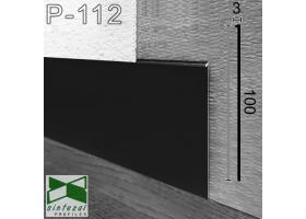 P-112B. Плоский скрытый плинтус под штукатурку Sintezal, 100х2х2500мм. Чёрный