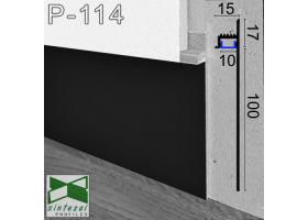 P-114B. Скрытый алюминиевый плинтус со светодиодной подсветкой Sintezal, 100х13,5х2500мм. Чёрный