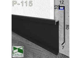 P-115B. Чёрный алюминиевый плинтус со скрытой LED-подсветкой Sintezal, 80х12х2500мм.