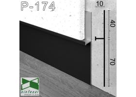 P-174B. Универсальный алюминиевый плинтус скрытого монтажа Sintezal, 112х10х2700мм. Чёрный