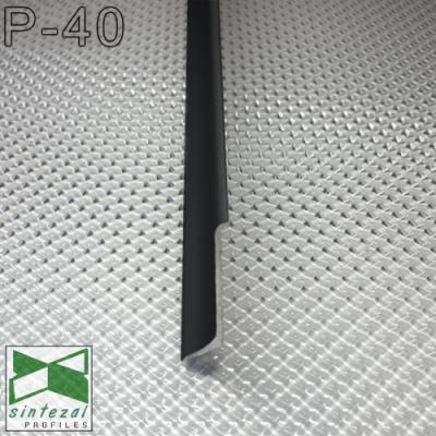 Плоский алюминиевый плинтус накладной Sintezal P-40B, H=40mm. Чёрный
